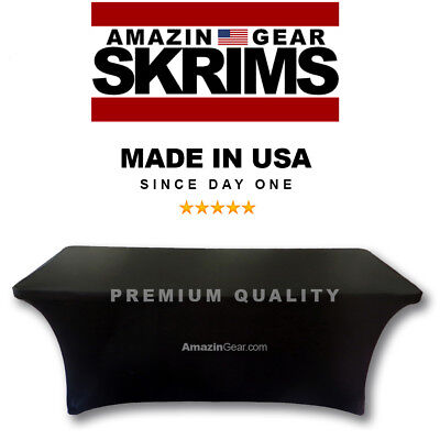 NEW! PRO DJ Table Scrim, 4' BLACK Stretch Spandex Cover w/ Cable Holes +FREE Bag