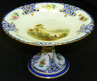 19th C English Staffordshire Scenic Painted Reticulated Compote Tazza w/ Gold
