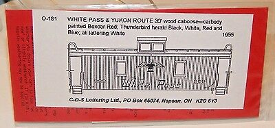C-D-S Lettering #O-181 White Pass & Yukon Caboose Dry Transfers NEW