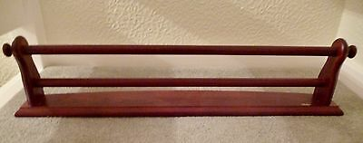 Miller Large Wooden Double Towel Rail in Polished Mahogany.