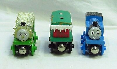 Thomas The Train Wooden Lot Of 3 Holiday Thomas, Winter Percy, Winter Caboose