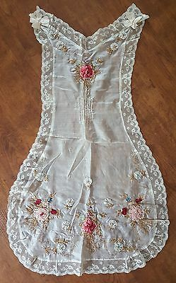 Vintage 1910s 1920s Silk Apron Pinafore Floral Rose Ribbon Embroidered Lace