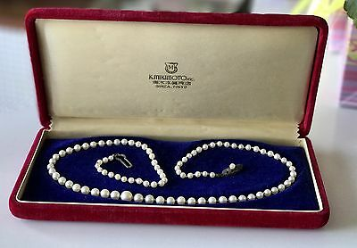 Beautiful Mikimoto Cultured Graduated Akoya Pearl Necklace Silver Signed 7 mm