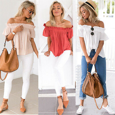 Fashion Summer Women Floral Casual Loose Blouse Off Shoulder Crop Tops T-Shirt