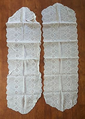 Set of 3 Table Runners 2 Organdy 1 Cotton Floral Embroidered Eyelets Vintage Bow