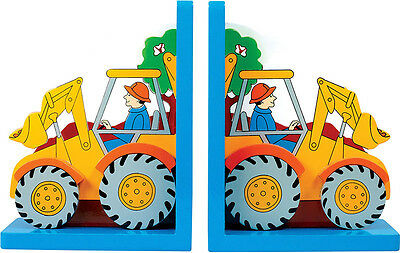 Children's wooden fairtrade bookends-Tractor