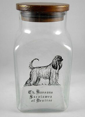 "Afghan Hound Dog Kassans Sacajawea of Desiree Pet Treat Jar Glass Wood 8"" Vtg"