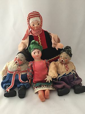 Lot Of 4 Vintage Dolls From Ukraine USSR Russia