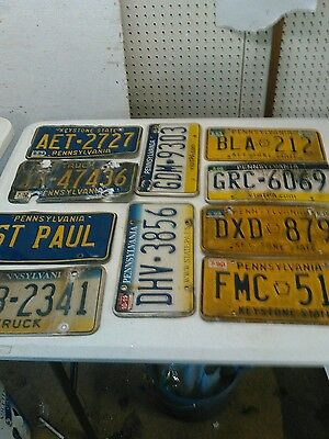 10 pa license plate lot for collecting or craft  road kill plates