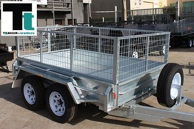8x5 Galvanised Tandem Trailer  With 2 Ft Cage - Box Trailer