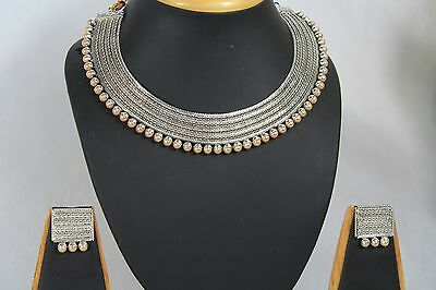 Bollywood Style Ethnic Indian Silver  Pearl Jewellery Necklace Earrings 192