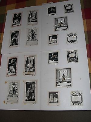 Forty Vintage Sample Bookplates Dolphin Bookplates from Ridgefield, New Jersey