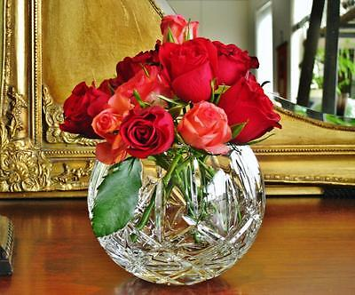 Stunning Bohemia crystal vase Rose bowl NEW - Boxed