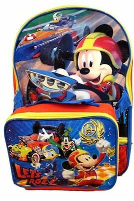 """New Disney Mickey Mouse """"Let's Roll"""" School 16"""" Backpack w/Detachable Lunch Box"""