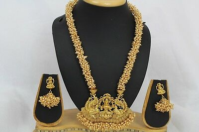 Bollywood Style Indian Gold Plated Jewellery Temple Necklace Earring set  260