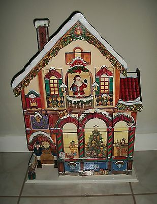Large Costco Wood Christmas House Advent Calendar with 24 Wooden Doors