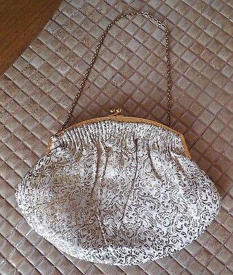 Vintage Mini Bag EVENING PURSE Made in France, Gold Brocade w/ Chain, Clutch
