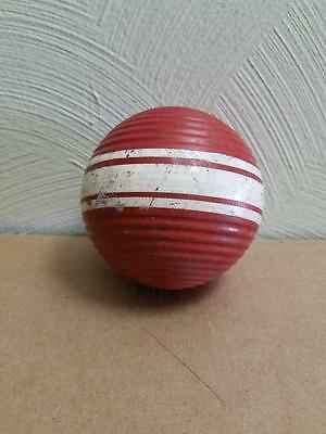 """Vintage Red 10.5"""" Rare Wide Triple Stripe Ribbed Croquet Ball"""