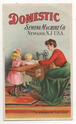 1900s Victorian Trade Card DOMESTIC SEWING MACHINE CO. Newark N.J. U.S.A.