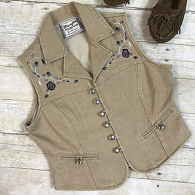 Vtg Wrangler Womens Vest Western Wear Southwest Hippy Embroidered Tan Beige M L