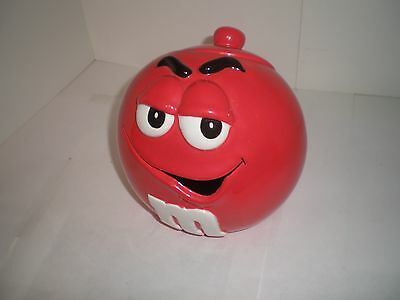 Vintage M&M's RED GLASS, POTTERY, PORCELAIN?  Original Candy Jar, very cute, W@W
