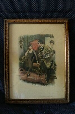 Romantic Print of Victorian Couple in the Original Frame