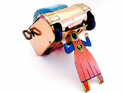 Marx 1950's Superman Gold Rollover Tank, Wind Up, Tin Litho, Rare, Platinum
