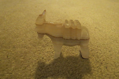 Small Elgin Mexico Carved Onyx Donkey/Mule Figurine + Metal Boat Ashtray