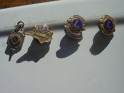 Lot of 3 Lions Club Pins and One Pendant
