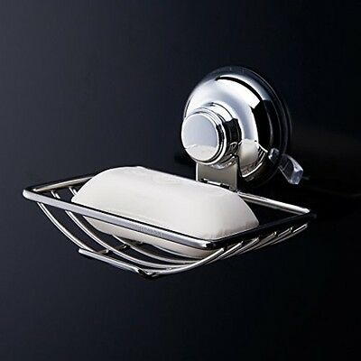 Push to Lock Strong Suction Soap Dish Holder Sponge Caddy for Bath Bathroom Show