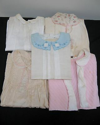 LOT of 5 VINTAGE BABY CLOTHES DRESSES + 1930's or  1940's GIRLS DOLL
