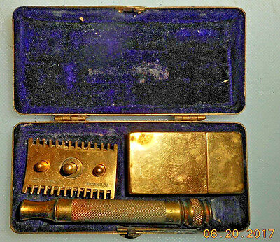 Vintage Gold Plated  Gillette Razor Kit With Original Advertising Box #1/2