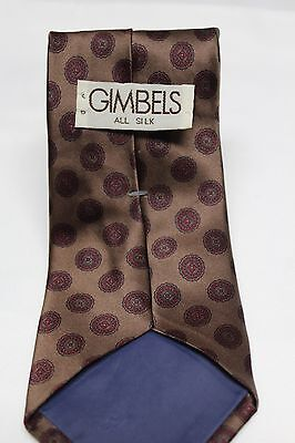 Gimbels All Silk Neck Tie Classic Thick Bronze Red Geometric Pattern High Luster