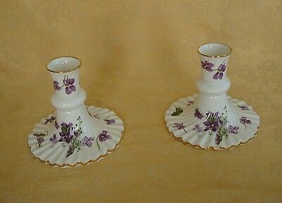 Set of 2 Hammersley Victorian Violets Bone China Candle Holders