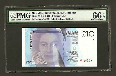 2010  Gibraltar £10 Pounds A/AA 450267  ~ PMG Graded