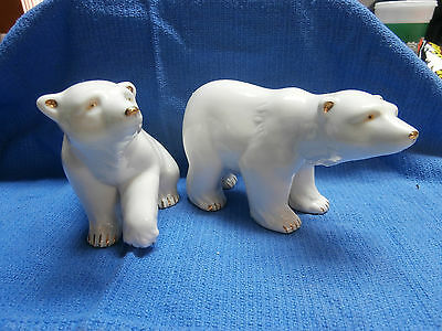 Lot of 2 Polar Bear Figurines with Gold Accents
