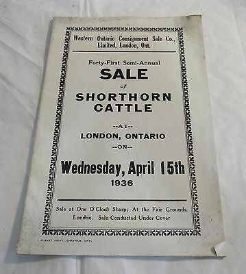 1936 London Ontario Shorthorn Cattle Auction Program Western Fair Grounds RARE