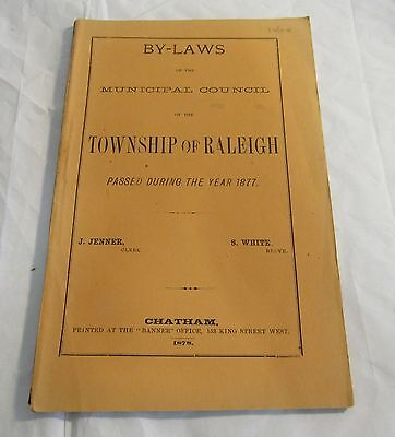 1878 Township Raleigh By-Laws Report Kent County Ontario Chatham Vintage RARE