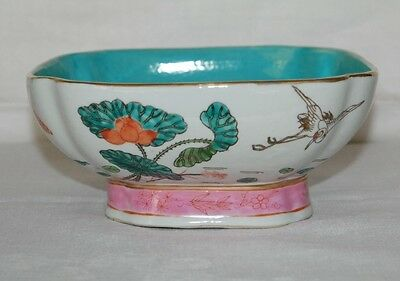 Antique Chinese Enameled Famille Footed Rose Bowl Turquoise And Pink