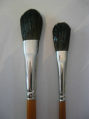 Set Of 2 Artist Water Color Mop Brush Oval Shape  Fine Soft Hair Mixture #2 & #4