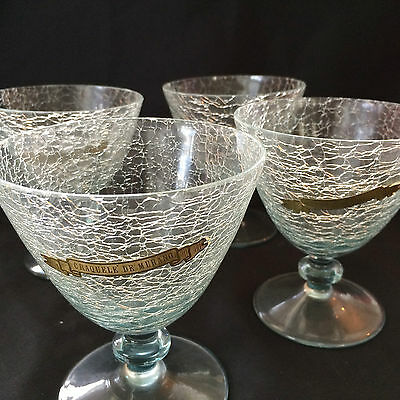 Set of 4 Craquele de Murano goblet glasses with labels - vintage cracked crystal