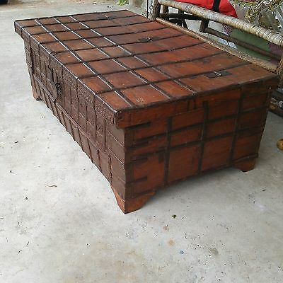 Antique vintage iron strap trunk chest blanket box coffee sofa table primitive