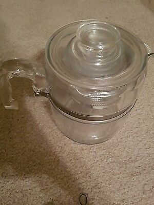 Vintage Pyrex Flameware Glass 6 CUP 7756 PERCOLATOR Coffee Pot Hipster