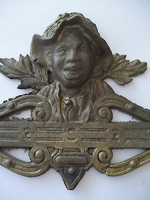 Vintage Antique Gate Metal Ornamentation Black Americana Smiling Boy Louisiana