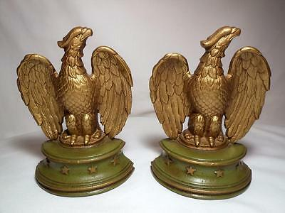 2 Very Well Done Vintage Painted Metal Eagle & Star Base Made In Usa Bookends