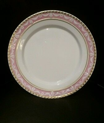 "Amazing KPM Kurland Decor 28 Pink 8.75"" Shallow Salad Bowl Gold Trim - Pristine"
