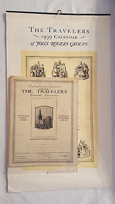 The Travelers Of John Rogers Groups- 1939 Calendar And And Application - Nice!