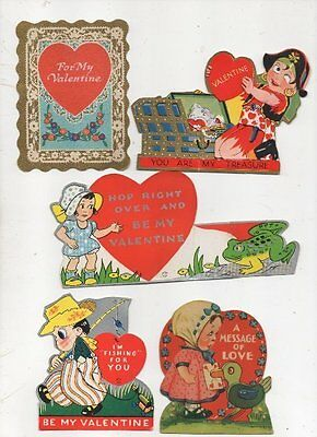 Lot of 5 Vintage Valentines 1 Folding Great for Scrapbooking Circa 1930s