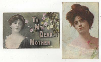 2 Antique Postcards CHRISTIE OR GIBSON GIRLS 1908