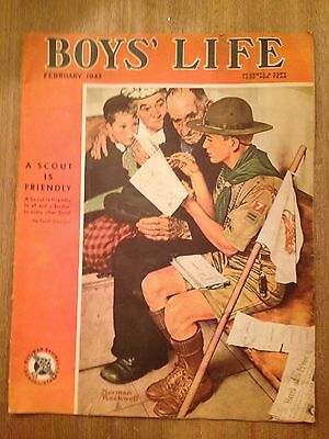 BOYS LIFE - FEBRUARY 1943 ~ Norman Rockwell Boy Scout Cover
